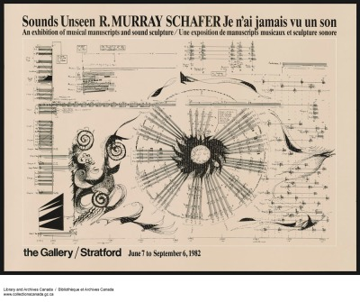 Poster from Sounds Unseen, an exhibition of musical manuscripts and sound sculpture by R. Murray Schafer