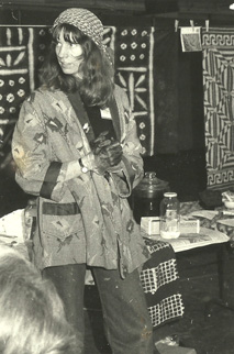 Early photo of Dorothy Caldwell giving a demonstration. Photo courtesy Artspace Archives