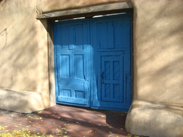 Blue Spanish doors of Santa Fe